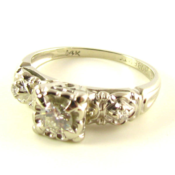Engagement Ring: Vintage Diamond Ring in White Gold Side