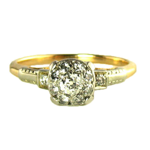 WW2 Era Old Mine Cut Diamond Ring in Yellow Gold and Palladium