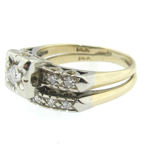 Vintage Diamond Wedding Ring in 14K White Gold and Yellow Gold