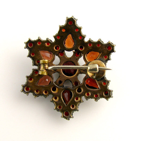 Bohemian Garnet Brooch Star Back