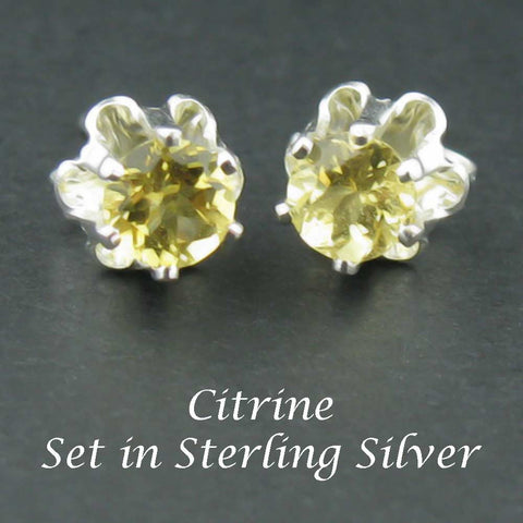 New Citrine Sterling Silver Earrings in 4mm Buttercup Settings