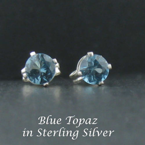 New Sterling Stud Topaz Earrings 4mm