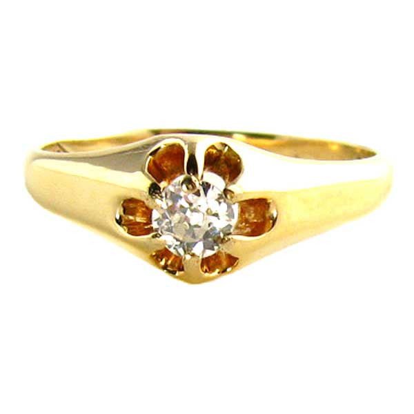 Antique Diamond Ring: Early 1900's Diamond Ring 1/5th Carat in Yellow Gold