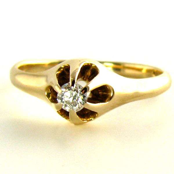 Edwardian Rose Gold Diamond Ring in an Old Belcher Setting