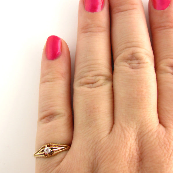 Edwardian Diamond Ring in Rose Gold - On Hand