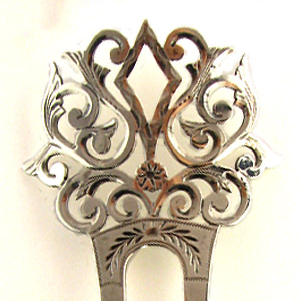 Edwardian Sterling Hair Comb Front Up Close