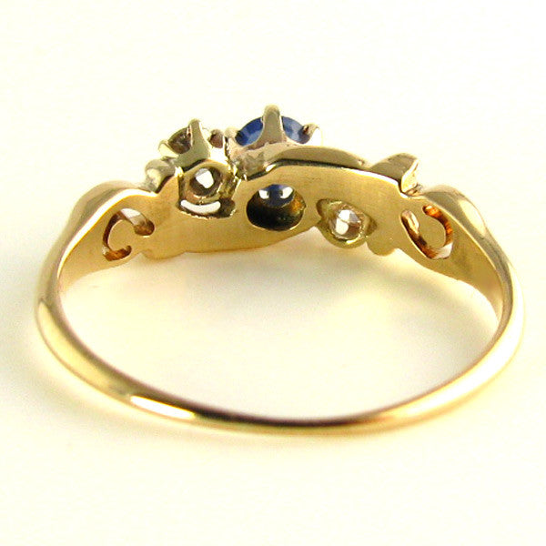 Edwardian Natural Sapphire and Old Mind Diamond Ring Back