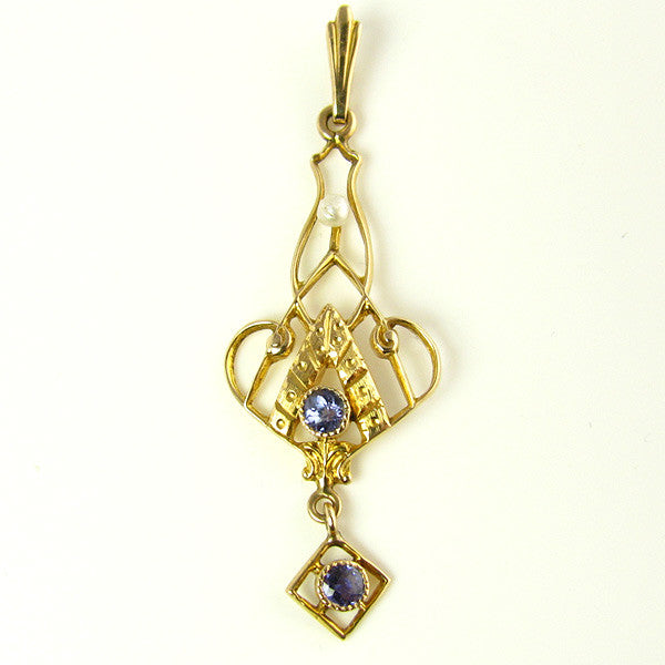 Edwardian Lavalier with Natural Sapphires and a Seed Pearl