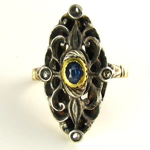 Antique Silver Topped Gold, Sapphire, and Diamond Ring
