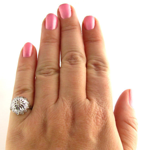 Estate Diamond Ring: Domed White Gold Elegance - On Hand