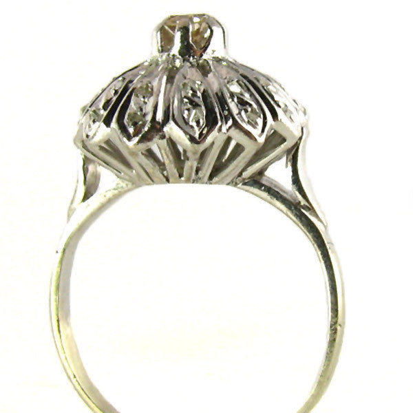 Estate Diamond Ring: Domed White Gold Elegance - Side2