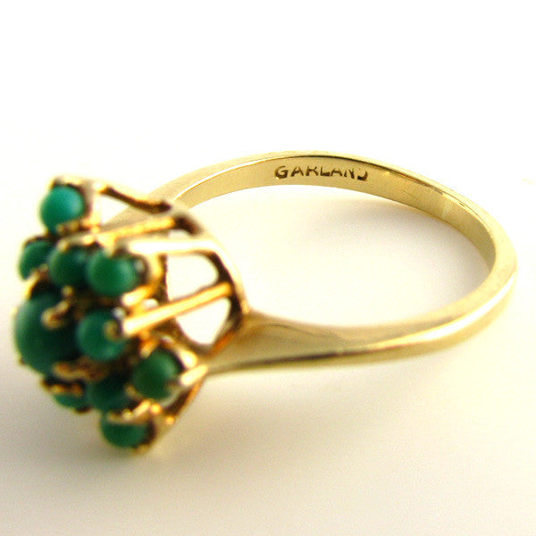 MidCentury Turquoise and Gold Ring Garland Makers Mark