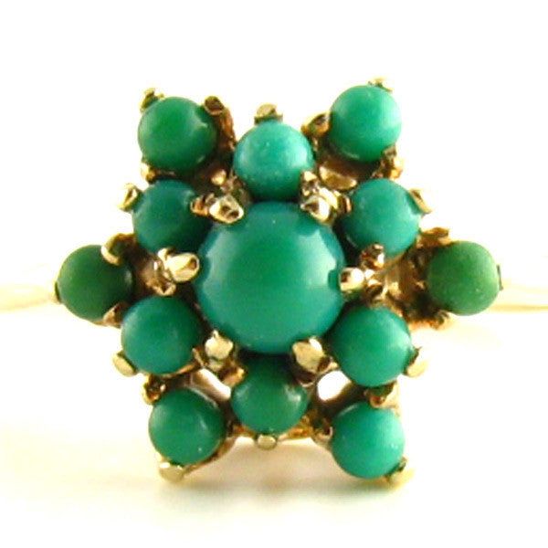 MidCentury Turquoise and Gold Ring- Front