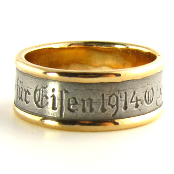 Historic 1914 Berlin Iron and Rose Gold Ring Side