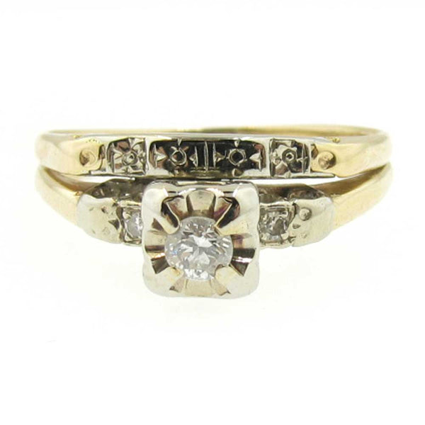 14K Diamond Wedding Ring with a Modern Brilliant Diamond