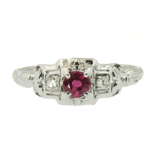 Art Deco Natural Ruby Ring with Diamonds in 18K White Gold