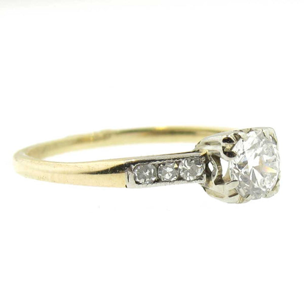 Vintage Wedding Ring - Old European Cut Diamond in 12K Yellow Gold
