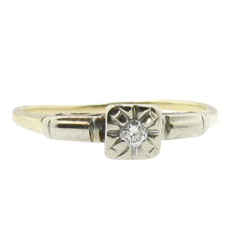 Inexpensive Diamond Engagement Ring in 14K Yellow Gold - Beautiful Antique Jewelry