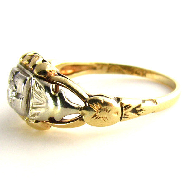 Intricate Art Deco Ring Side