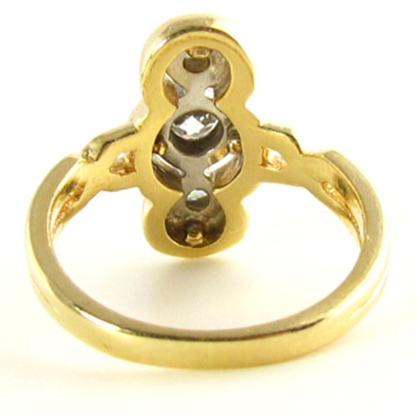 Late Victorian to Edwardian Diamond Triliogy Ring Back