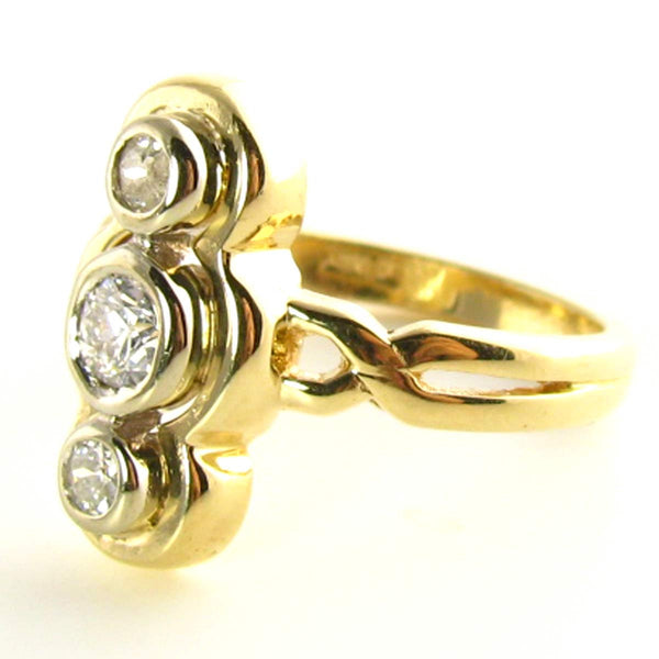 Late Victorian to Edwardian Diamond Triliogy Ring Side