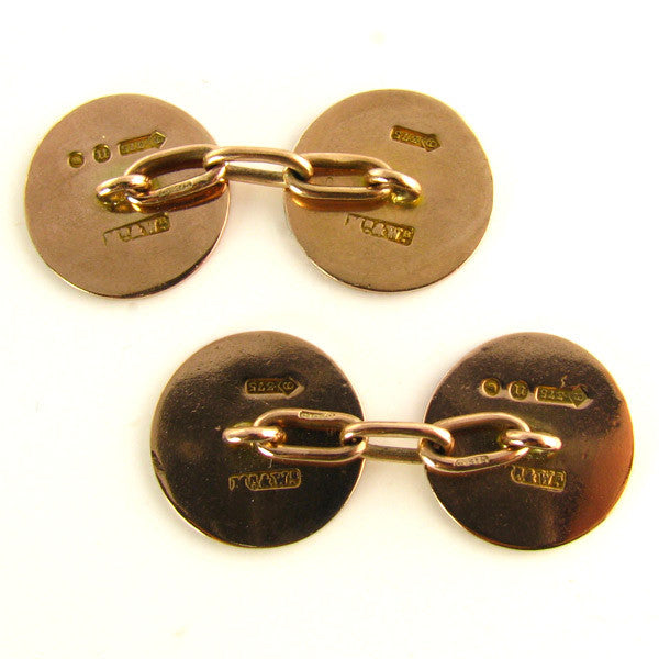 Art Deco Cufflinks by Mappin and Webb - 1928 London in 9K Rose Gold Back