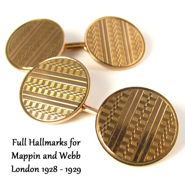 Art Deco Cufflinks by Mappin and Webb - 1928 London in 9K Rose Gold