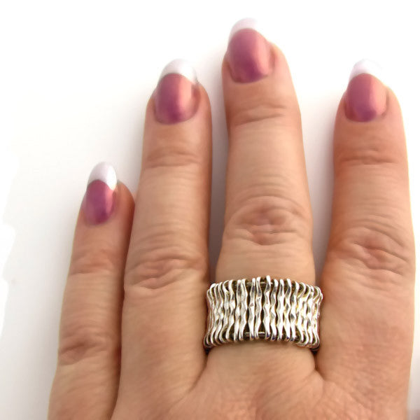 Modern Sterling Silver Ring Wire Ring On Hand