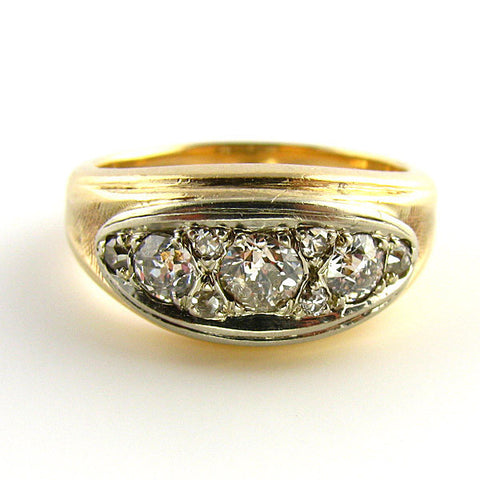 Old European Cut Diamond Mens Ring Front