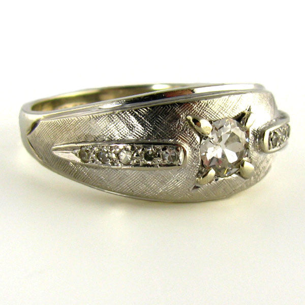 Old European Cut Diamond Mens RIng Side