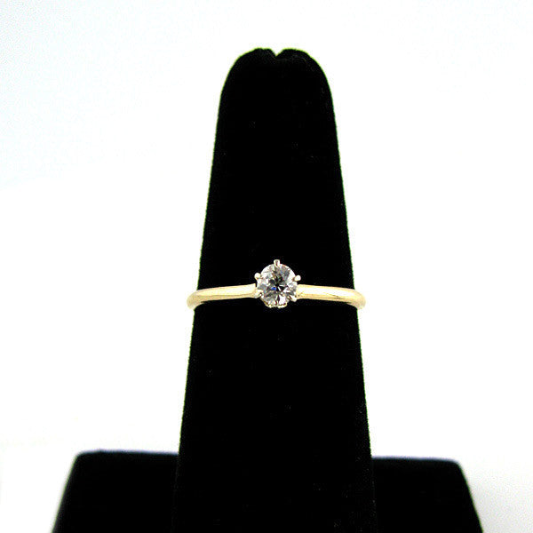Old Mine Cut Diamond Solitaire On Finger