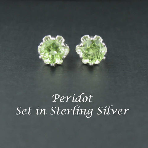 Peridot Sterling Silver Earrings in Buttercup 4mm Settings