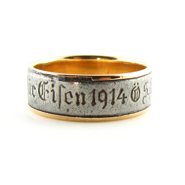 Rare Historic 1914 Berlin Iron and Rose Gold Ring