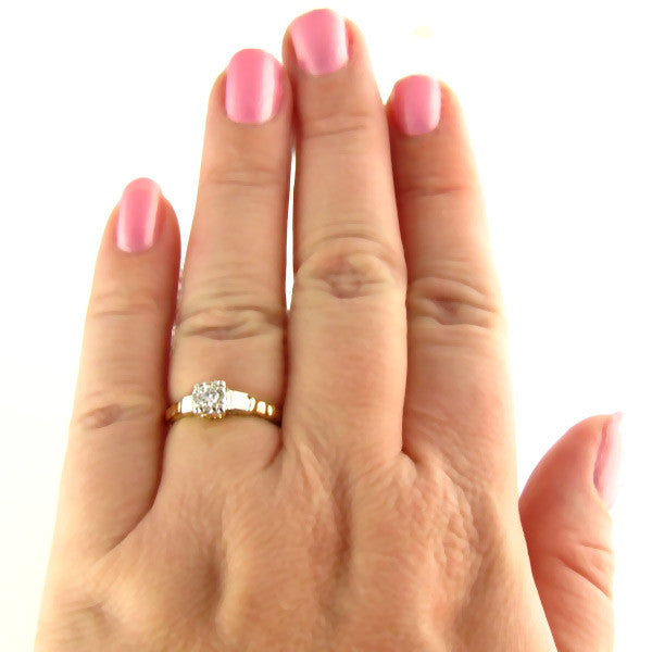 Streamlined Illusion Diamond Ring On Hand