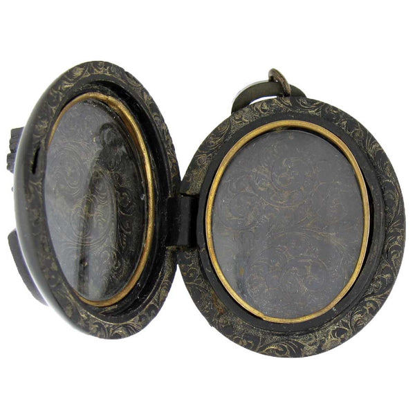 Victorian Locket made from Vulcanite with a Bacchante Cameo Inside