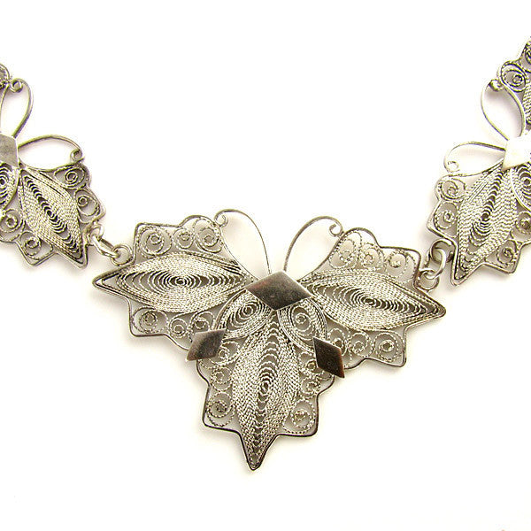 Vintage Filigree Necklace Butterfly