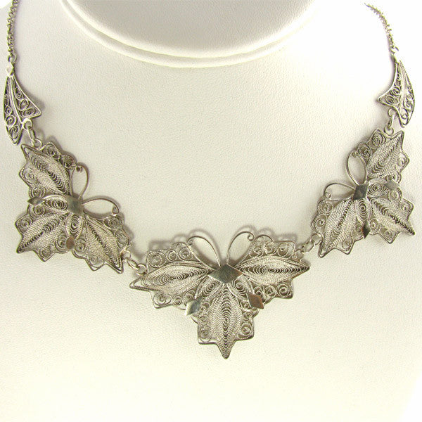 Vintage Filigree Jewelry - Butterfly Necklace