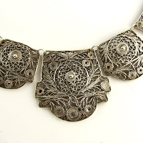 Vintage Filigree Jewelry - Large Necklace