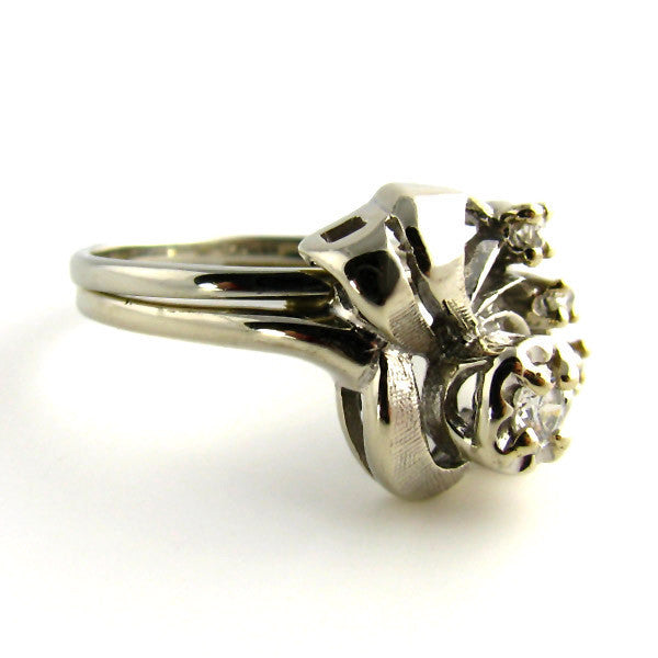 Vintage Ring: 1940s Ribbons and Diamonds in 18K White Gold