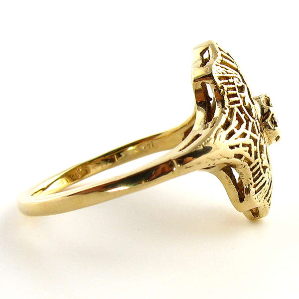 14K Art Deco Filigree Ring with Diamond in Yellow Gold - Beautiful Antique Jewelry - 2