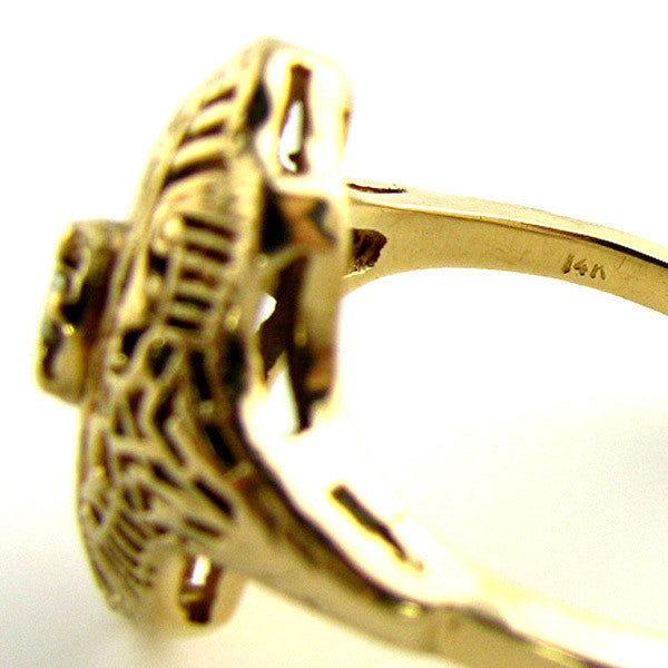 14K Art Deco Filigree Ring with Diamond in Yellow Gold - Beautiful Antique Jewelry - 7
