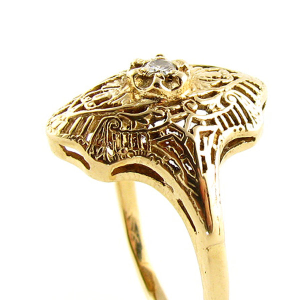 14K Art Deco Filigree Ring with Diamond in Yellow Gold - Beautiful Antique Jewelry - 3