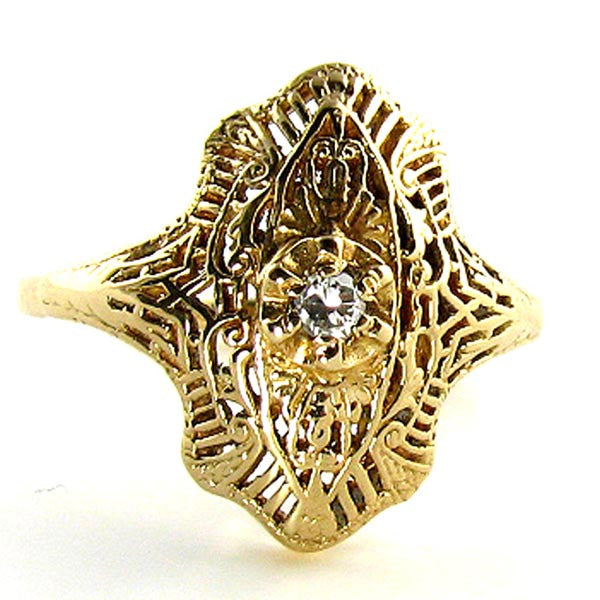14K Art Deco Filigree Ring with Diamond in Yellow Gold - Beautiful Antique Jewelry - 1