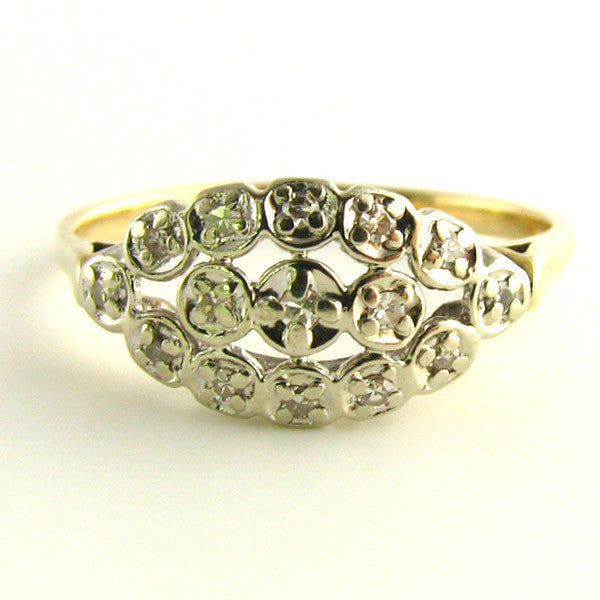Vintage Almond Shaped Diamond Ring