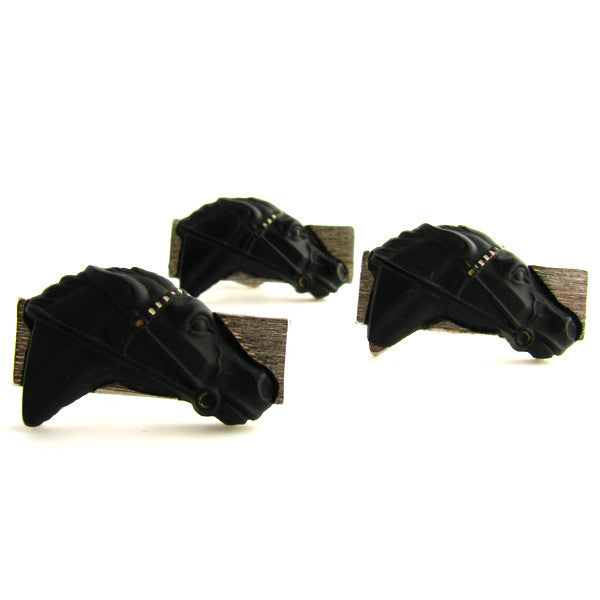 MidCentury Cufflinks and Tie Clip - Black Horses