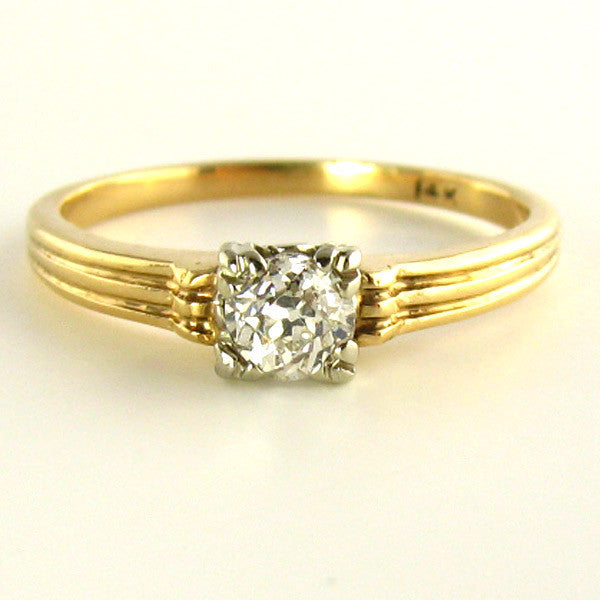 old mine cut diamond ring early 1900s