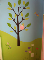 tree wall mural owl
