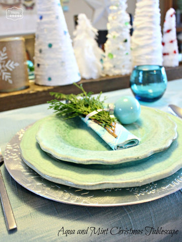 Aqua and Mint Tablescape