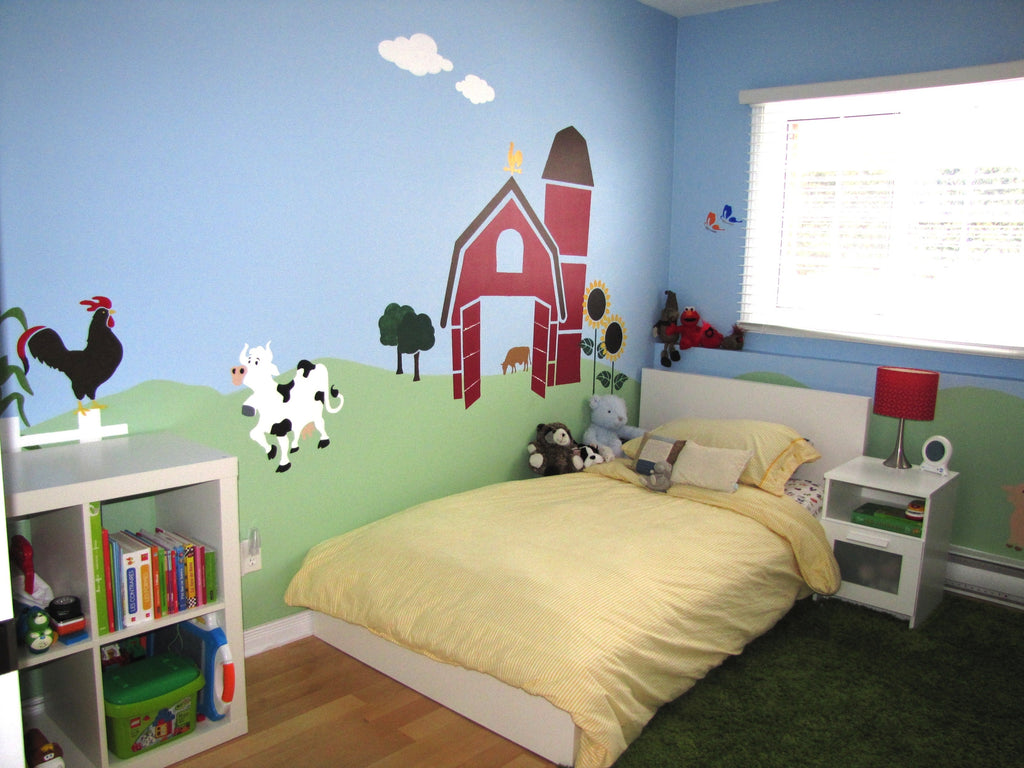 farm wall mural stencils are a hit in any language