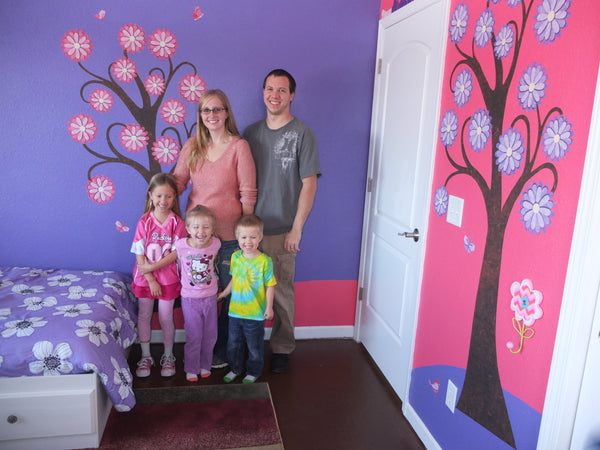 Family with Flowering Tree Wall Murals